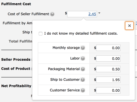 Fulfillment Costs in Amazon FBA Calculator
