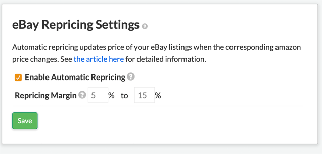 Enable Repricing
