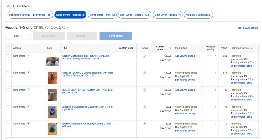 eBay Send Offers