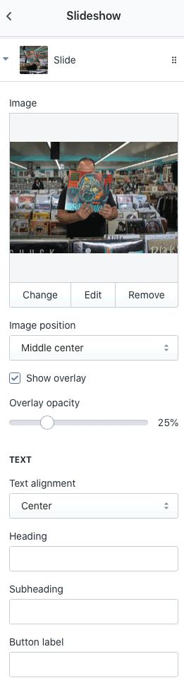 Slideshow settings Shopify