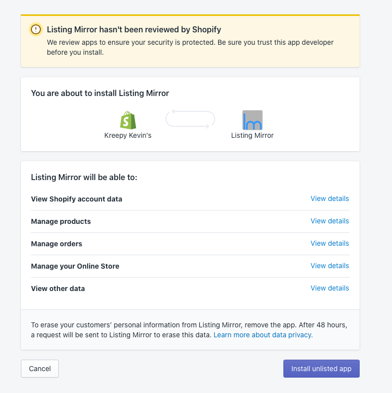Listing Mirror Shopify App