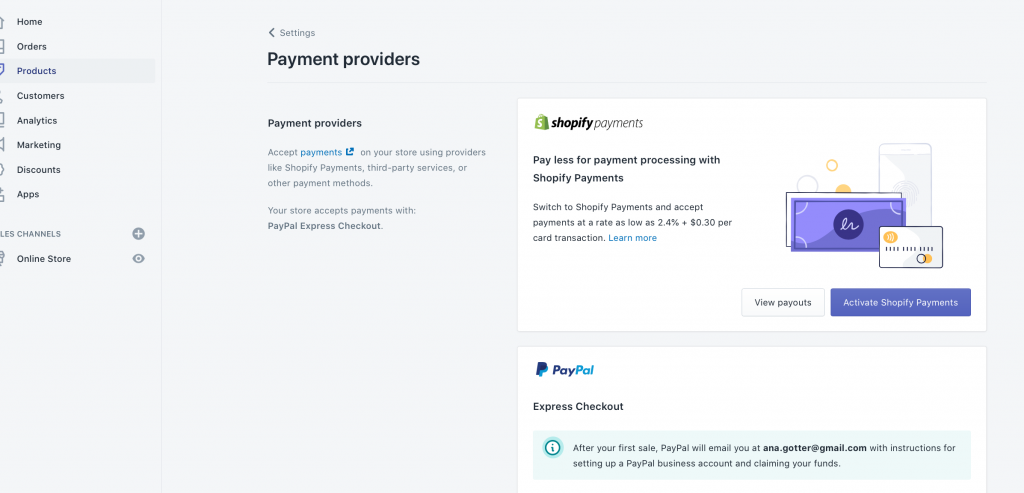 How Do I Sell on Shopify? > Payment Settings