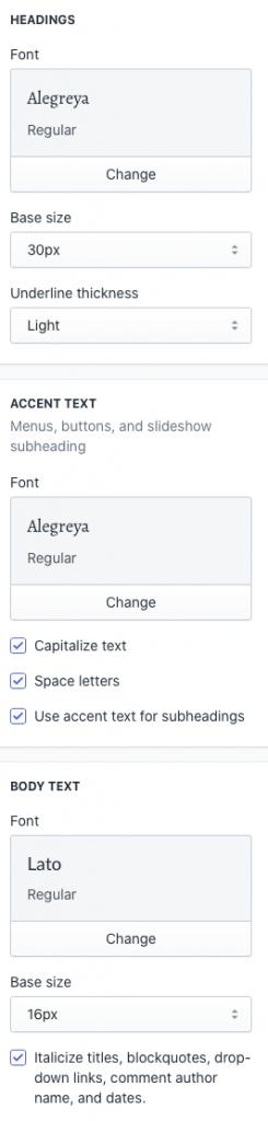 Shopify font settings