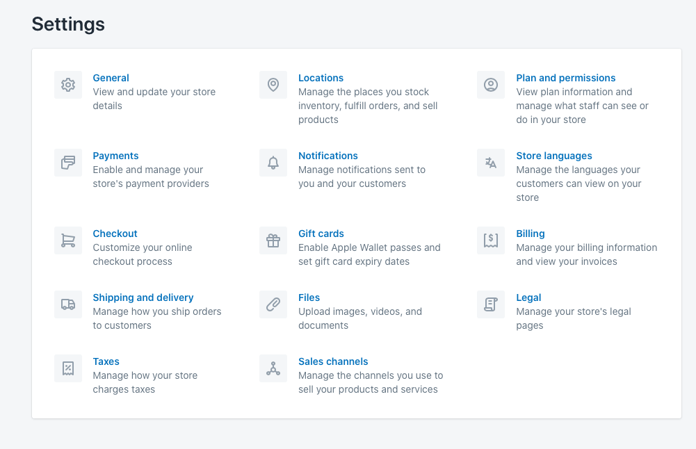 Shopify Main Settings