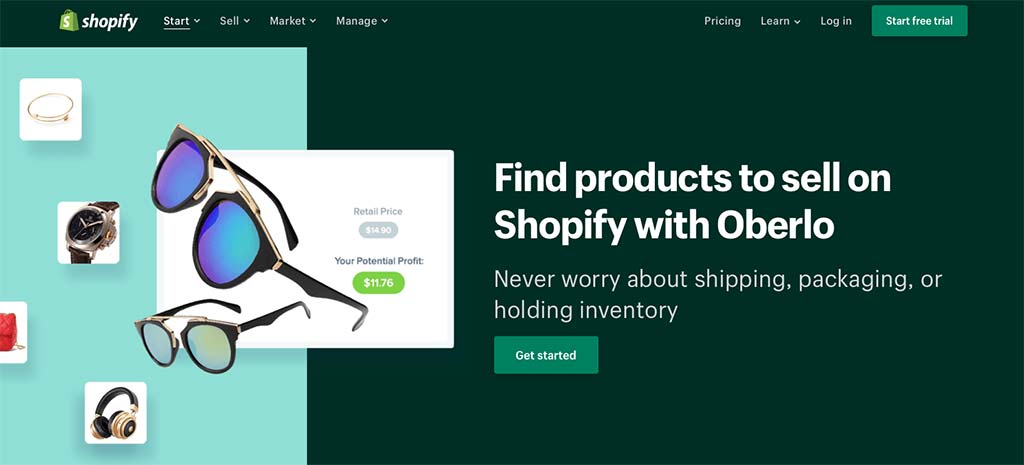 Shopify Oberlo Home Page — The Big Enchilada in Shopify Dropshipping