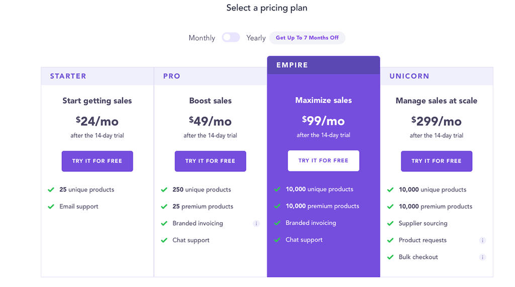 Spocket Pricing Chart