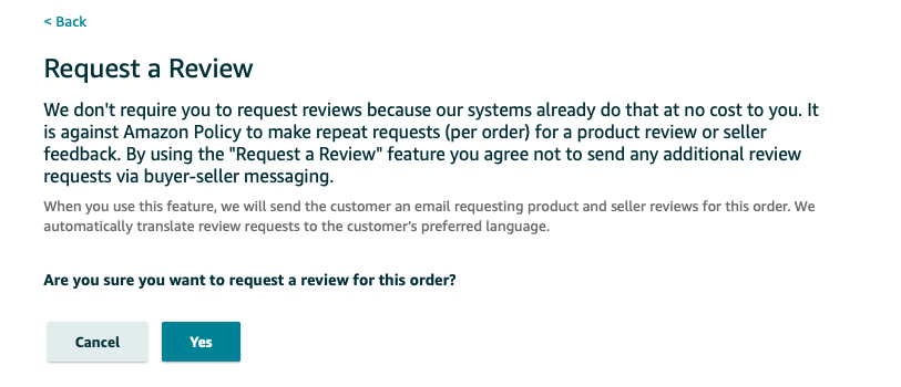 Request Review from Amazon buyer