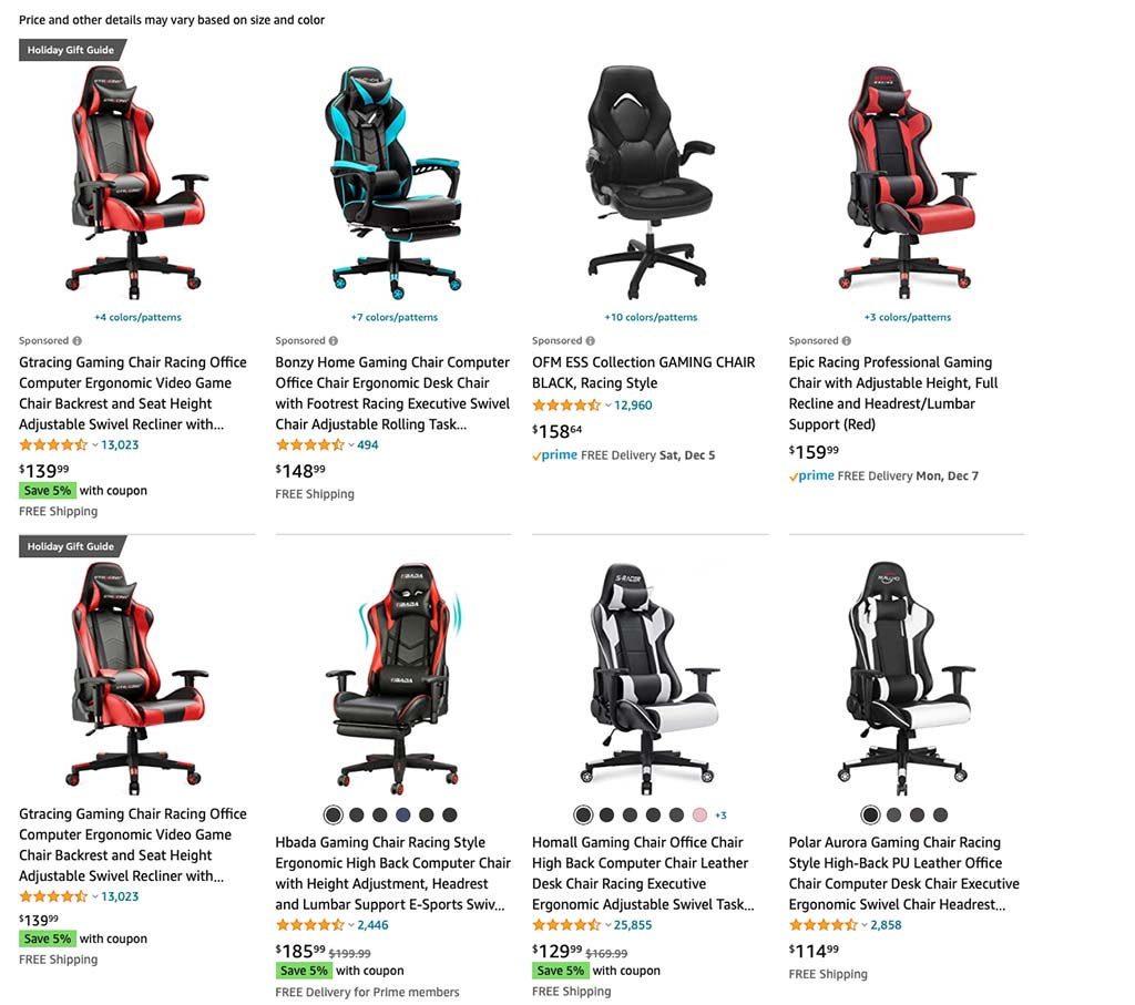 Gaming Chairs Search on Amazon.com