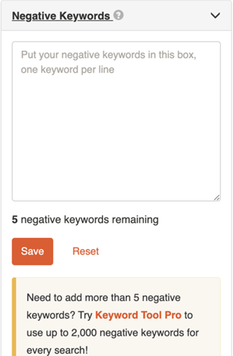 Negative Keywords — Amazon Keyword Search
